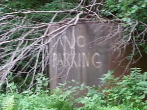 No Parking on the ancient oil tank.